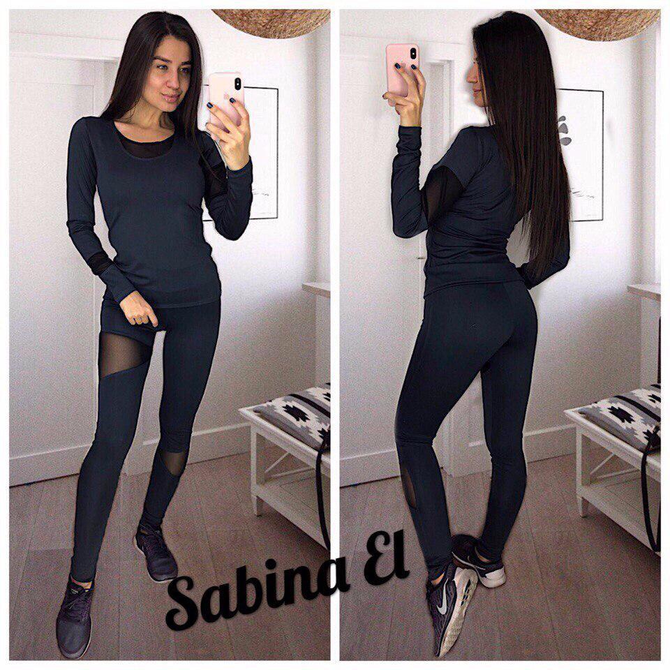 Женский черный костюм для фитнеса с сеткой 705230