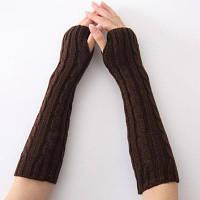Длинные вязаные перчатки без пальцев Кофейный