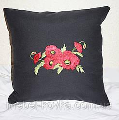 Декоративная подушка из льняной ткани с вышивкой на диван  3