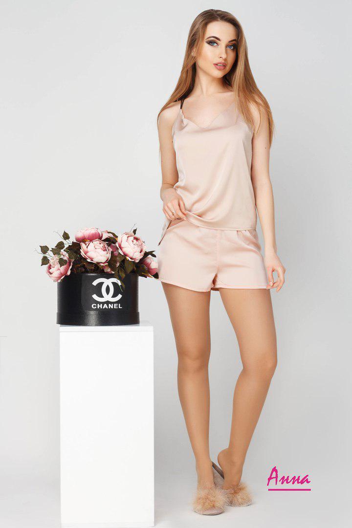 Купить Однотонную женскую шёлковую пижаму с майкой и шортами 641938 ... 89b7ed1f72a4d