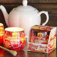 """Свеча праздничная для дома """"Royal Tea"""" S152, в стакане, размер 70х70 мм, подарочный набор свечей, свечи для интерьера"""