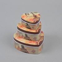 """Комплект шкатулок для хранения мелочей """"Сердце"""" CF0070, в комплекте 3 шкатулки, 3 вида, металл, шкатулка под бижутерию, шкатулка металлическая"""