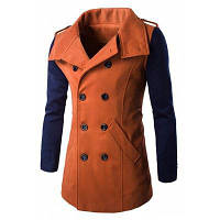 Двубортный Отложной Воротник Цвет Блока Сплайсинга Шерстяное Пальто