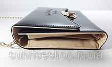 Клатч лаковый цвет чёрный , фото 3