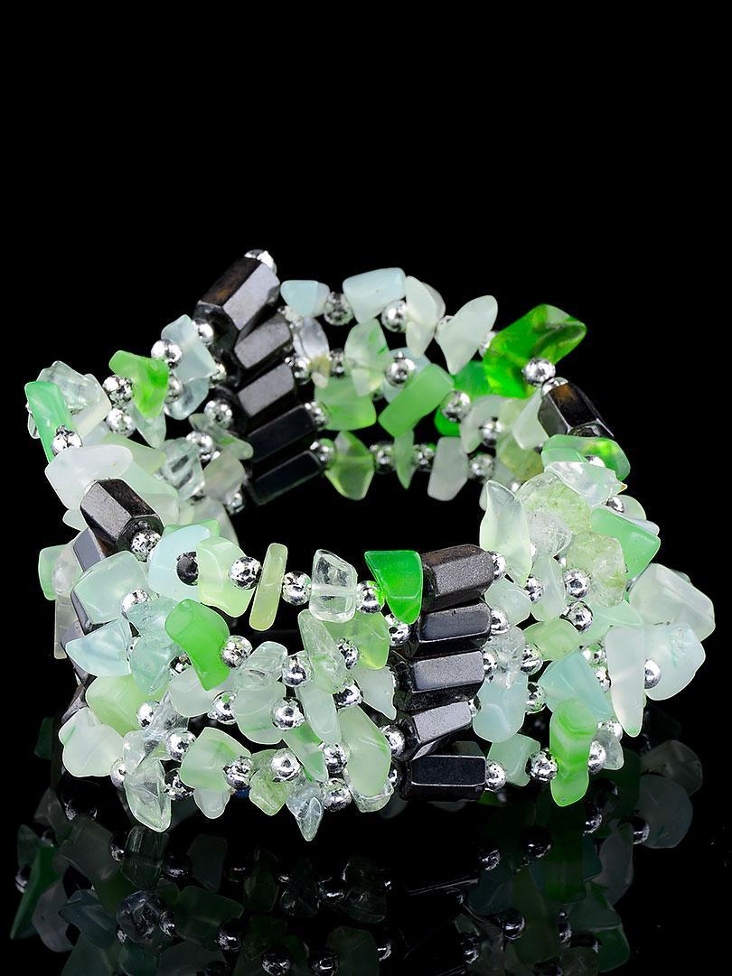 Браслет Агат зеленый натуральный  90 см.