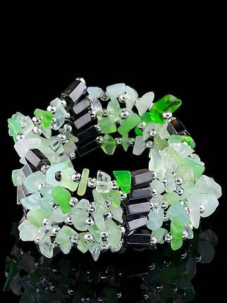 Браслет Агат зеленый натуральный  90 см., фото 2