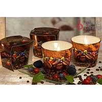 "Свеча декоративная для дома ""COFFEE TIME"" S520, в стакане, ароматизированная, в коробке, ароматическая свеча, свеча в стакане"