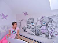 Интерьерный рисунок ЭКО красками в детской (Мишки Тедди)