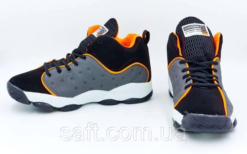 7e79e38d Обувь для баскетбола мужская Jordan (р-р 41-45) (PU, черный-серый-оранжевый)