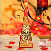 """Свеча праздничная для влюбленных """"Verona"""" S546,03, размер 50х150 мм, в форме пирамиды, парафин / стеорин, свеча для праздника, подарочная свеча"""