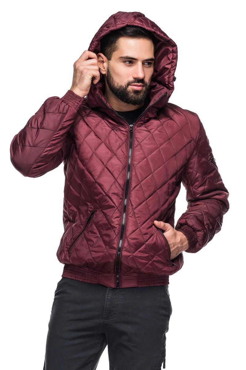 Мужская деми куртка с капюшоном Леон бордо (48-56)