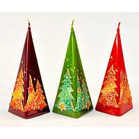 """Свеча для праздничного интерьера """"Magic Tree"""" S8861, 150 мм, пирамида, Свеча-фигурка, Свечки для Нового Года, Праздничные свечи"""