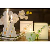 """Свеча свадебная для праздника """"Орхидея"""" SW4116, в форме пирамиды, размер 50х150 мм, свадебные аксессуары, декор для свадьбы, аксессуары для свадьбы"""