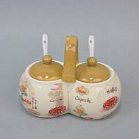 """Набор для хранения специй """"Cupcake"""" YX1321, с ручкой, размер 13х16х8 см, керамика, комплект для специй, емкость для специй"""
