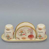 """Набор для хранения специй """"Cupcake"""" YX1316, с салфетницей, размер 23х8 см, керамика, в коробке, комплект для специй, емкость для специй"""