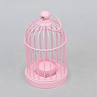 """Подсвечник декоративный для свечей """"Клетка"""" FA395, розовый, металл, 15х8 см, подставка для свечи, подсвечник для декора, декор-подсвечник"""