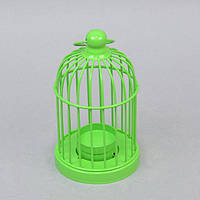 """Подсвечник декоративный для свечей """"Клетка"""" FA393, зеленый, металл, 15х8 см, подставка для свечи, подсвечник для декора, декор-подсвечник"""