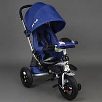 Детский трехколёсный велосипед коляска Бест Трайк Best Trike 698 синий с фарой и пультом. Резиновые колёса.