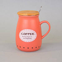 """Чашка керамическая для напитков """"Cup"""" CM053, размер 11х6 см, объем 400 мл, с крышкой, с ложечкой, 4 вида, в коробке, чашка для чая, посуда для чая, фото 1"""