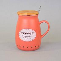"""Чашка керамическая для напитков """"Cup"""" CM053, размер 11х6 см, объем 400 мл, с крышкой, с ложечкой, 4 вида, в коробке, чашка для чая, посуда для чая"""