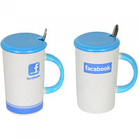 """Кружка керамическая для напитков """"Facebook"""" CM601, размер 12х7.2 см, с ложечкой, 5 видов, в коробке, кружка для чая, посуда для чая, фото 1"""