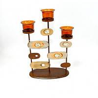 """Подсвечник декоративный для свечей """"Sunset"""" FA4339, металл / стекло, 30x20см, на 3 свечи, подставка для свечи, подсвечник для декора, декор-подсвечник"""