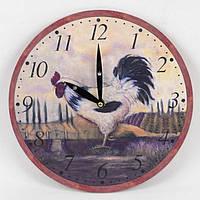 """Часы настенные для декора """"Петушок"""" B0150, размер 28.8x28.8x3.5 см, дерево, часы для дома, часы на стену, часы домашние"""
