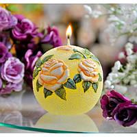 """Свеча - шар """"Садовая роза"""" SW336, диаметр - 100 мм, высота - 100 мм, вес - 230 гр, свадебные аксессуары, декор для свадьбы, аксессуары для свадьбы"""