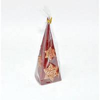 Свеча для праздничного интерьера S688, 150 мм, пирамида, Свеча-фигурка, Свечки для Нового Года, Праздничные свечи