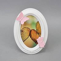 "Фоторамка настольная для фото ""Butterfly"" PR014, размер 19х14 см, овальная, дерево, рамка для фото, фото-рамка, рамка для фотографии"