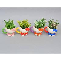 """Композиция цветочная для декора """"Hello Kitty"""" SU9228, в подставке, размер 12х10 см, декоративный цветок, искусственное растение"""