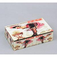 """Шкатулка стеклянная для украшений """"Девушка"""" CT8017, размер 16х9х5 см, шкатулка под бижутерию, шкатулка из стекла"""