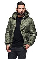 Мужская деми куртка с капюшоном Леон хаки (48-56)