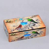 """Шкатулка стеклянная для украшений """"Птицы"""" CT041, размер 5х16х9 см, в подарочной упаковке, шкатулка под бижутерию, шкатулка из стекла"""