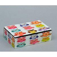 """Шкатулка стеклянная для украшений """"Совушки"""" CT039, размер 5х16х9 см, в подарочной упаковке, шкатулка под бижутерию, шкатулка из стекла"""