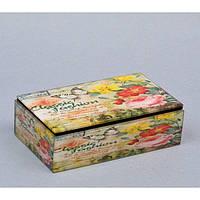 """Шкатулка стеклянная для украшений """"Роза"""" CT037, размер 5х16х9 см, в подарочной упаковке, шкатулка под бижутерию, шкатулка из стекла"""