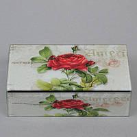 """Шкатулка стеклянная для украшений """"Роза"""" CT038, размер 5х16х9 см, в подарочной упаковке, шкатулка под бижутерию, шкатулка из стекла"""