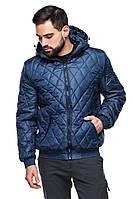Мужская деми куртка с капюшоном Леон синий (48-56) 56
