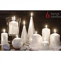 """Свеча для праздничного интерьера """"CHRISTMAS SNOW"""" S1334, цилиндр, 50*100 мм, Столовые свечи, Свечки для Нового Года, Праздничные свечи"""