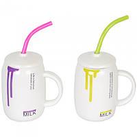 """Кружка керамическая для напитков """"Smile"""" CM270, размер 12.5х8.2 см, с ложечкой - трубочкой, 4 вида, в коробке, кружка для чая, посуда для чая"""