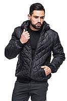 Мужская деми куртка с капюшоном Леон черный (48-56)