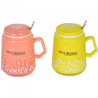 """Кружка керамическая для напитков """"Cherry blossoms"""" CM151, размер 11х7 см, с ложечкой, 4 вида, в коробке, кружка для чая, посуда для чая, фото 1"""