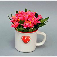 """Композиция цветочная для декора """"Чашечка"""" SU5401, в чашке, размер 15х12х6 см, 6 видов, декоративный цветок, искусственное растение"""