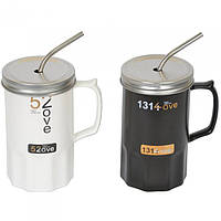 """Кружка керамическая для напитков """"Life style"""" CM087, размер 14х8.5 см, с трубочкой, 2 вида, в коробке, кружка для чая, посуда для чая"""