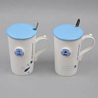 """Кружка керамическая для напитков """"Sea World"""" CM018, размер 14х8 см, с крышкой, с ложечкой, 4 вида, в коробке, кружка для чая, посуда для чая, фото 1"""