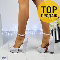 Женские туфли с открытым носком на каблук 13 см, лилового цвета / туфли женские кожаные, на ремешке, стильные