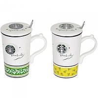 """Кружка керамическая для напитков """"Starbucks"""" CM831, размер 14х8.5 см, с ложечкой, 2 вида, в коробке, кружка для чая, посуда для чая"""