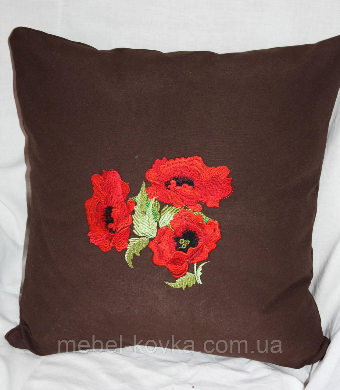 Сувенирная подушка из льняной ткани с вышивкой с маками на диван  4