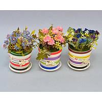 """Композиция цветочная для декора """"Бантик"""" SU9199, в подставке, размер 18х12 см, декоративный цветок, искусственное растение"""
