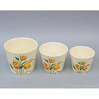 """Комплект вазонов для цветов """"Tulips"""" FYS6941, в наборе 3 штуки, керамика, размер большого 15х16 см, вазон для комнатных растений, горшок для растений"""